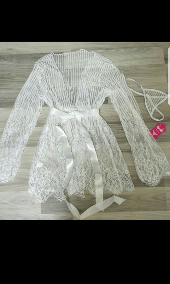 04b563cdcb Sexy white lace transparent robe soft bra bikini Nightwear lingerie ...