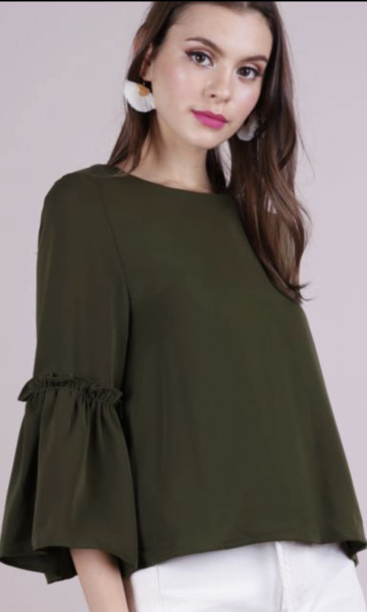 1b6060430194e TTR Amelia Frilly Top in Olive