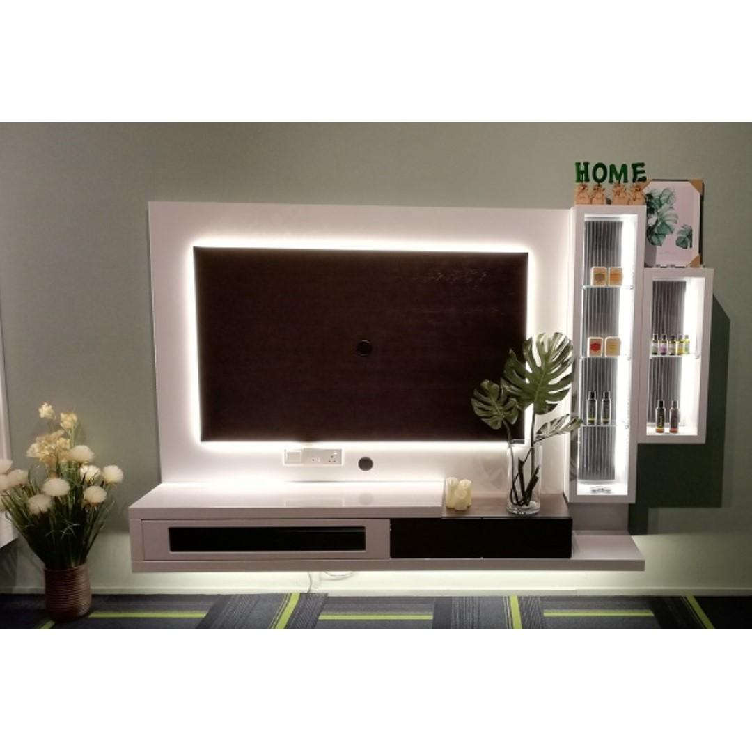 Tv Console Wall Mounted W Led Lights Designer Display Box Furniture Shelves Drawers On Carousell