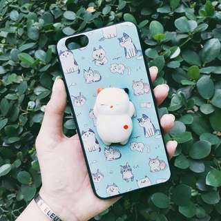Light Blue Cute Kitty Tumblr Squishy Case For Oppo A57 / A39