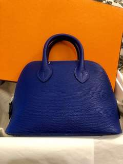 Hermes mini Bolide Stamp C full set with org receipt,7t Electric blue color,
