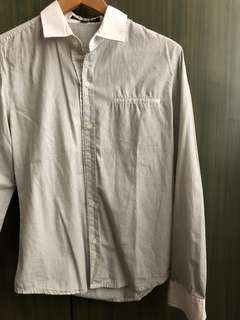 Plain White Tiny Striped Long Sleeved w/ pockets Polo Men's
