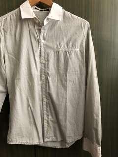 Plain White Tiny Striped Long Sleeved w/ pockets Polo Men's