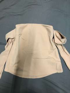 Plains and Prints nude off shoulder top