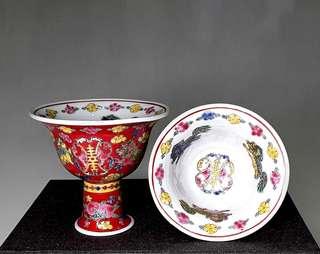 Vintage Chinese Porcelain Stem Cups - 1 Pair