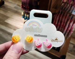 新 香港迪士尼正品維尼熊豬仔可愛卡通女款甜耳環