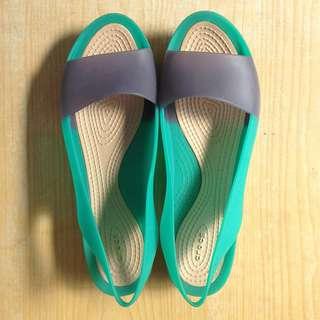 $ 459    CROCS 卡駱馳 復古 露趾魚口 涼鞋 雨鞋 橡膠鞋 大尺碼 W9 /43 /26.5
