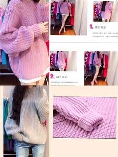 2018韓國秋冬新款粗線針織衫蝙蝠袖寬鬆上衣顏色👍🏻