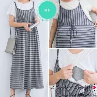T1303 - 台灣 假兩件高腰綁結哺乳裙