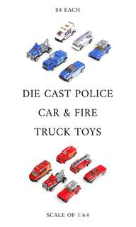[INSTOCK SALES] DIE CAST MODEL 6PC POLICE CAR & FIRE ENGINE