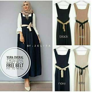 Ec Yura overall l atasan fashion overall mocca overal jumpsuit rok wanita