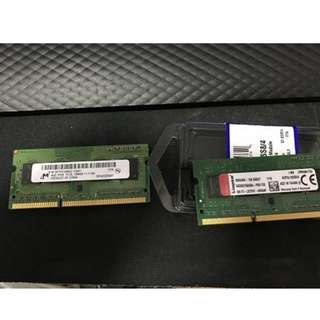 Kingston DDR3L 1600 4GB 低電壓 + Mcron DDR3L 4GB 1600 notebook ram