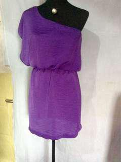 Purple one-shoulder dress & Pair of backless(criss/cross blouse and tied skirt