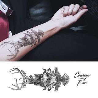 BN instock Temporary Tattoo Temp Tattoos Deer Wolf Eagle Nature and Wild Survival Protection Divine Freedom Courage