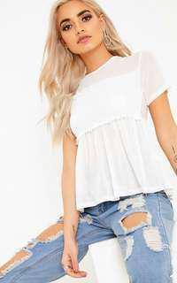 PRETTY LITTLE THING Kaylee White Sheer Mesh Ruched T-Shirt