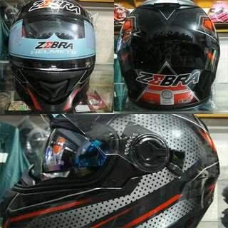 Zebra Full Face Dual Visor Helmet