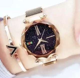 🇰🇷韓國風休閒時尚星空錶面鑽石形切割錶面手錶 配磁石錶帶