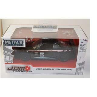 JDM Tuners 1:32 scale 2002 Nissan Skyline GTR-R34 Black Metal Diecast by Jada Toys