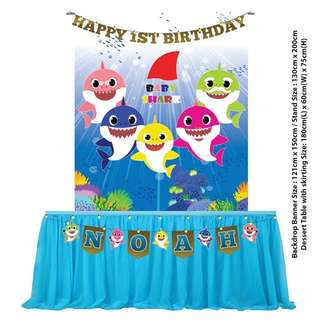 5 Designs - Birthday Party Decoration - Baby Shark