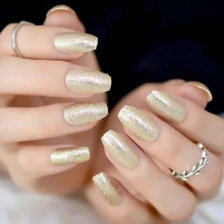 24 Glittery Light Gold Press On