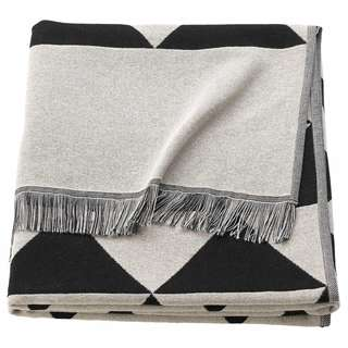IKEA JOHANNE Throw, black/white black/natural