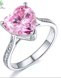 3.5 carat cubic zirconia pink heart shape promise ring