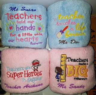 Personalised towels - teacher's day gift