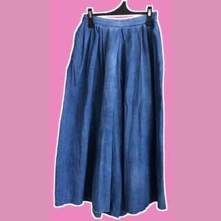 SALE❗️❗️❗️Highwaist Acid Washed Soft Denim Culotte Pants/Wide Leg Pants