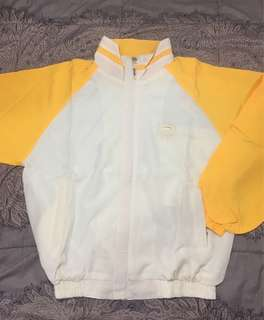 Yellow white windbreaker Jacket