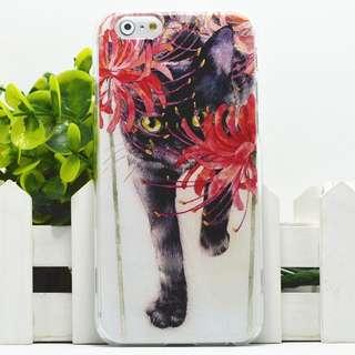 Apple iphone 6s、iphone 6s plus 黑貓咪 卡通浮雕 超薄透明邊 彩繪手機殼  特價$50