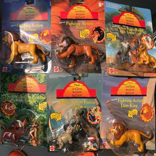 Vintage Mattel Lion King Action Figure Push Button Set of 6