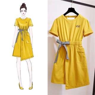 Summer dress cotton and linen bow dress