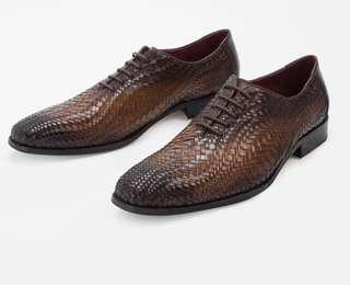New MAHLER woven leather Oxford laced Shoe