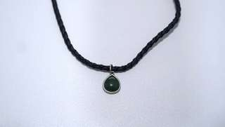 Black Braided Choker with Green Droplet Pendant
