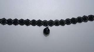 Black Lace Choker Necklace with Black Ball Pendant