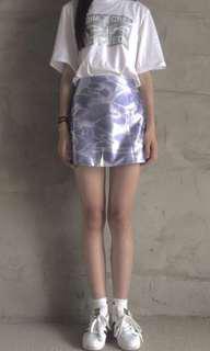 水波紋 紫色高腰短裙