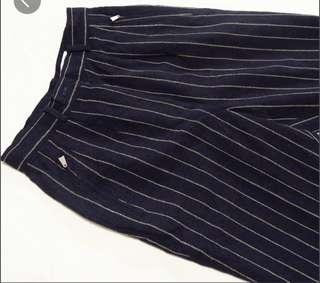 🚚 古著 Elle 法蘭絨 深藍條紋直筒長褲