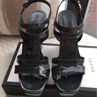 JIL SANDER  patent leather platform wedge sandals shoes  ** Size 37 Made in Italy **
