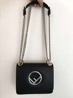 Fendi Kan I black leather handbag shoulder bag 黑色 皮 手袋