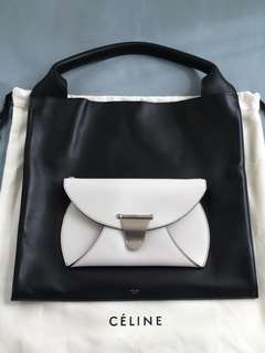 Celine black and white leather tote shoulder bag handbag 黑 白 皮 手袋