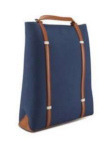 ZALORA 雙色帆布背囊(藍色)