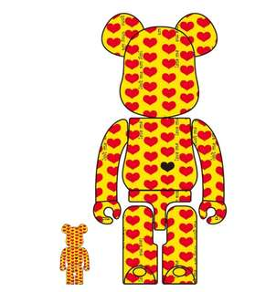 [新貨預訂] BE@RBEICK hide X JAPAN 400% 100% Yellow Heart Guitar BEARBRICK