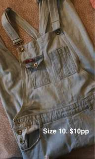 Denim overalls size 10