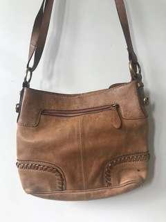 Brown real leather hand bag