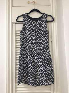 J. Crew navy blue dress with hearts
