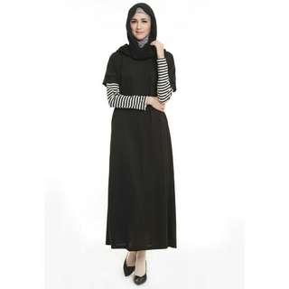 Lacot stripe dress black