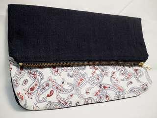 Handmade clutch bag (denim x paisley)