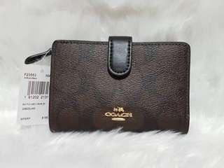 Coach Signature PVC Medium Corner Zip Wallet Brown Black F23553