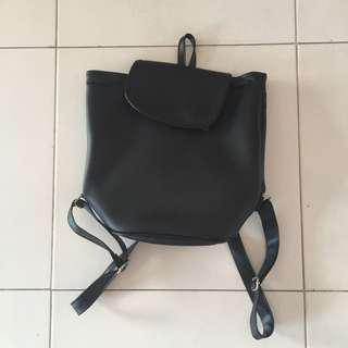 Faux Leather Black Longchamp Inspired Backpack