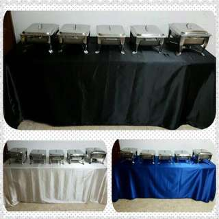CHAFING DISH / BUFFET SETS,  TABLE , STOOLS & SKIRTING FOR RENTAL ( HALAL )